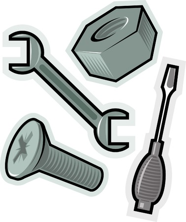 screwing: Objects for screwing. Vector illustration.