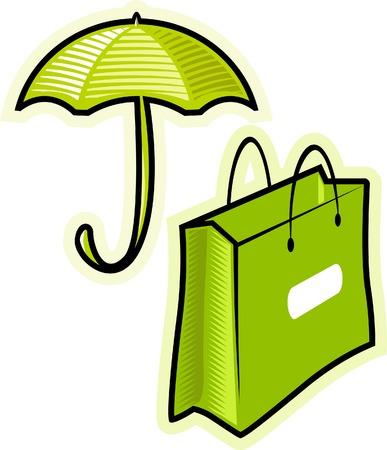 paperbag: Objects: umbrella, paperbag. Vector illustration.