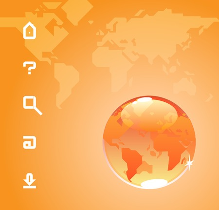 Globe and website icons. Orange background with map of the World. Vector illustration. Stock Vector - 5420055