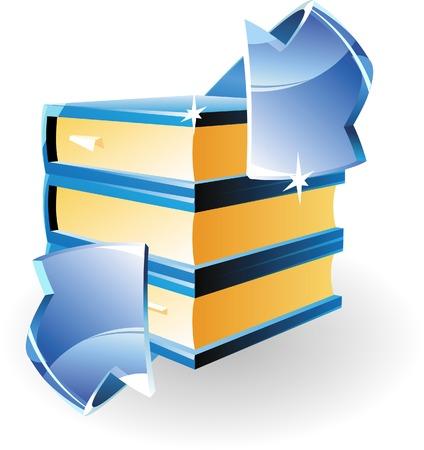 Arrow and books. Vector illustration. Stock Vector - 5433579