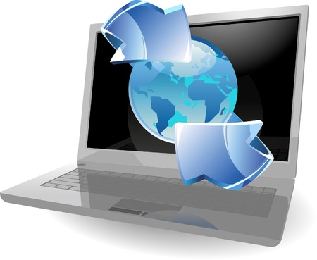 Laptop with earth and arrow. Vector illustration. Vector