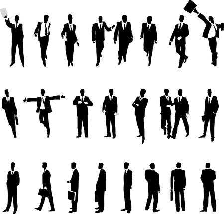 unrecognizable person: Businessmen in various situations. Vector illustration.