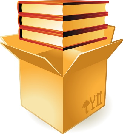 keeping: Stack of books in box. Vector illustration.