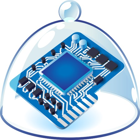 chipset: Computer chipset under bell-glass. Vector illustration.