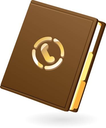 contact book: Icono de bloc de notas marr�n. Ilustraci�n del vector.