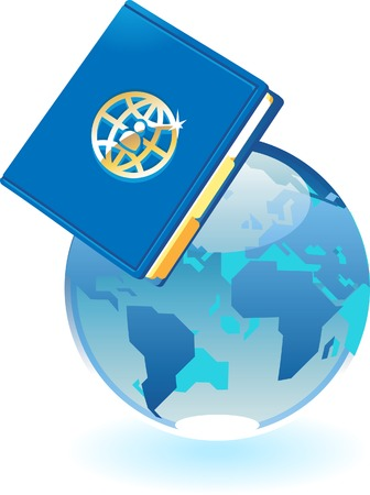 directory book: Notebook and blue globe. Vector illustration concept.