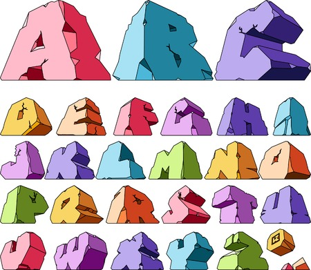cleft: Multicolored alphabet: letters. Vector ilustration.