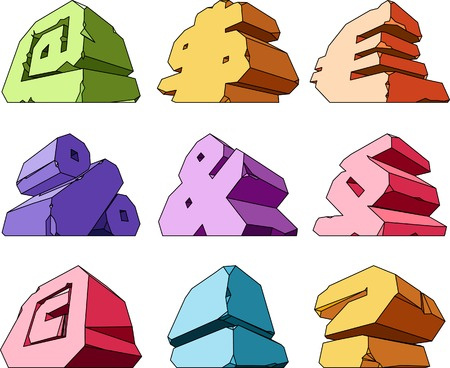 cleft: Multicolored alphabet: symbols. Vector ilustration.