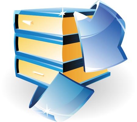 turn yellow: Arrow and books. Vector illustration.