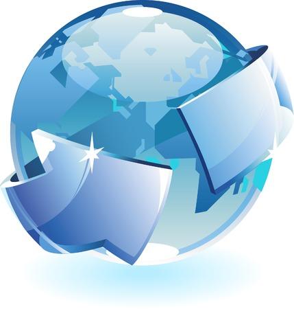 Earth and arrow. Vector illustration. Stock Vector - 5464086