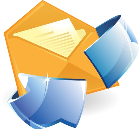 circulation of documents: Letter with arrow. Vector illustration.