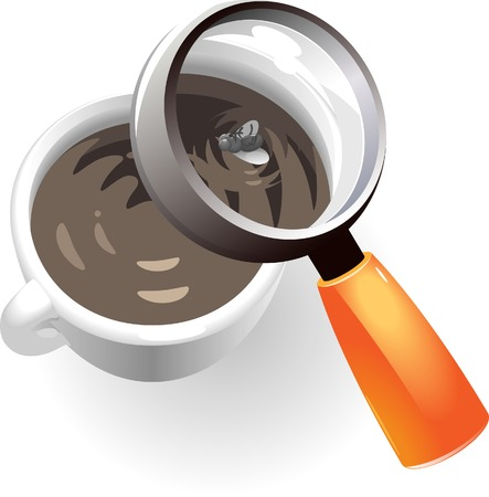 Coffee cup with dead fly. Vector illustration. Vector