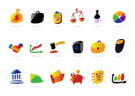 Colorful icons for business, finance and legal. Vector illustration. Illustration