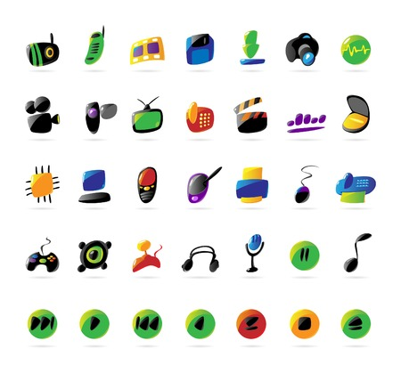 Colorful icons for electronic devices and music. Vector illustration.