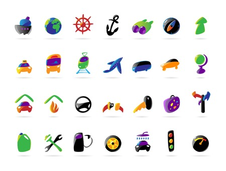 Colorful icons for travel and car services. Vector illustration. Vector