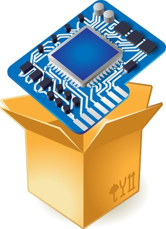 Computer chipset in box. Vector illustration. Stock Vector - 5464257