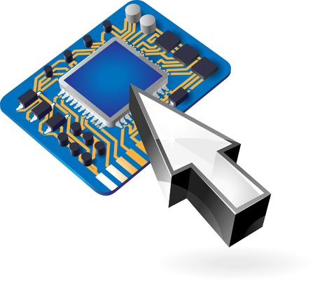 computer repair concept: Cursor pointing at computer chipset. Vector illustration.