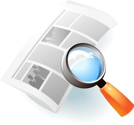 Newspaper under magnifying glass. Vector illustration. Illustration