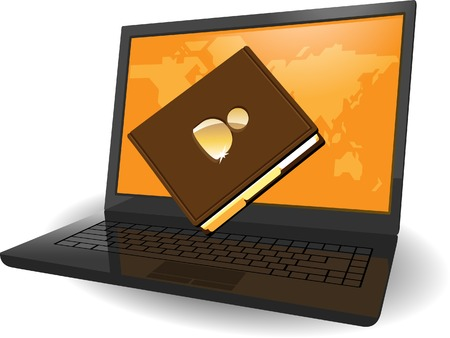 pocketbook: Laptop with map of the World on screen and notebook. Vector illustration concept.
