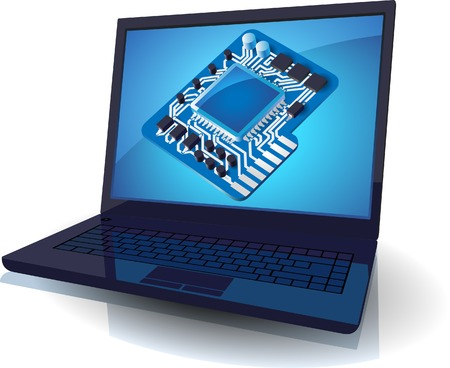 chipset: Laptop with blue chip set on screen concept. Vector illustration.
