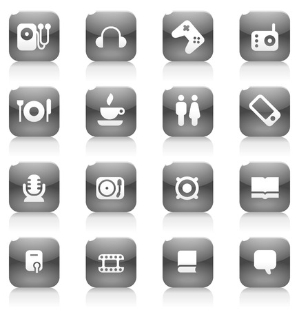 Buttons for music and leisure. Icons for websites and interface elements. Vector illustration. Vector