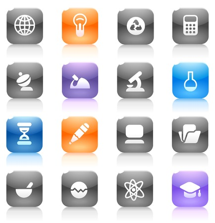 icons site search: Buttons for science. Icons for websites and interface elements. Vector illustration.