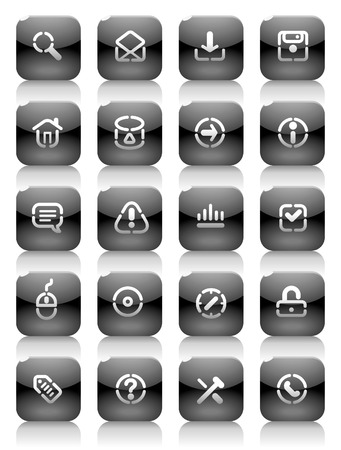 Buttons for internet. Icons for websites and interface elements. Vector illustration. Stock Vector - 5464262