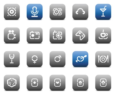 Buttons for entertainment. Icons for websites and interface elements. Vector illustration. Vector