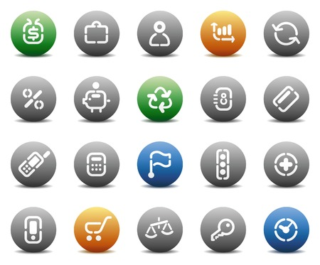 Buttons for business. Icons for websites and interface elements. Vector illustration. Stock Vector - 5464270