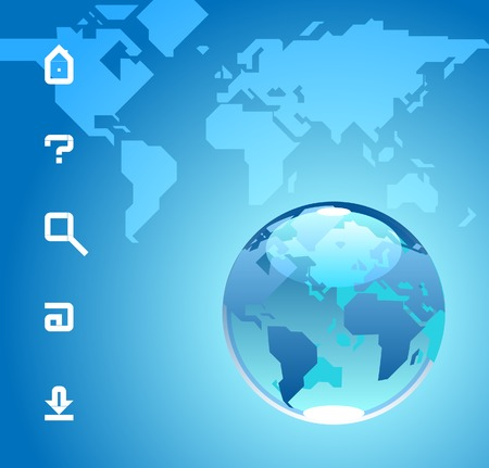 Globe and website icons. Blue background with map of the World. Vector illustration. Vector
