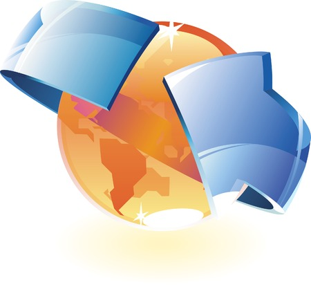 Earth orange and arrow. Vector illustration. Vector