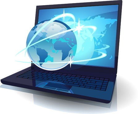 laptop vector: Laptop with Globe and map of the World and orbits. Vector illustration concept for tele-communications.
