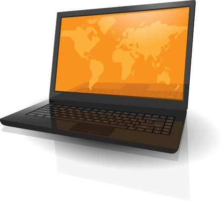 Realistic laptop with map of the World on orange screen. Vector illustration. Vector