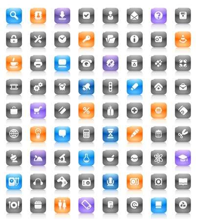 Buttons for computer, business, shopping, science, education and music. Icons for websites and interface elements. Vector illustration. Stock Vector - 5498715