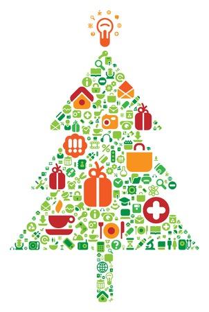 Albero di Natale fatto di computer e internet icons. Vector illustration.