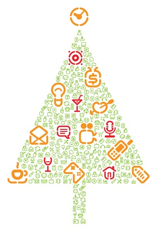 Christmas tree with gifts made of icons. Vector illustration. Stock Vector - 5658068