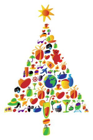 paperbag: Christmas tree with gifts made of icons. Vector icon set with items for ladies shopping, travel and leisure, food and drinks used in this illustration.