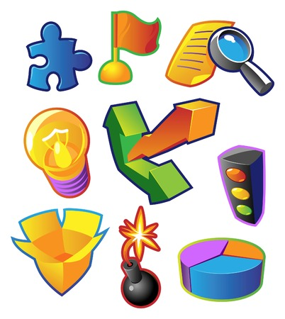 yelow: Colorful icons for business metaphors, success and progress. Vector illustration. Illustration