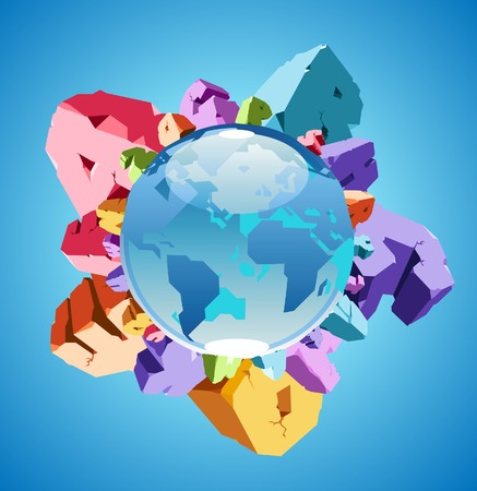 cleft: Globe with alphabet of colorful rocks. Vector illustration.