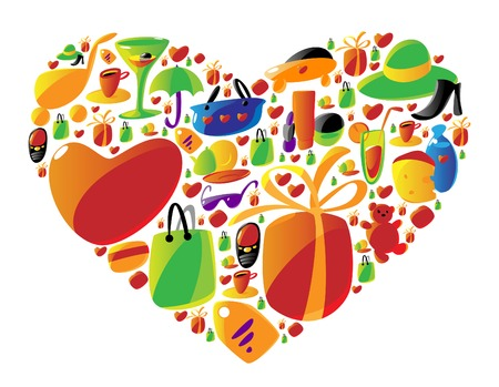 arranged: Ladies shopping icons arranged in heart shape. Vector illustration.