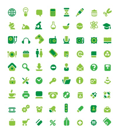 Set of 72 green icons. Vector illustration. Stock Vector - 5658043