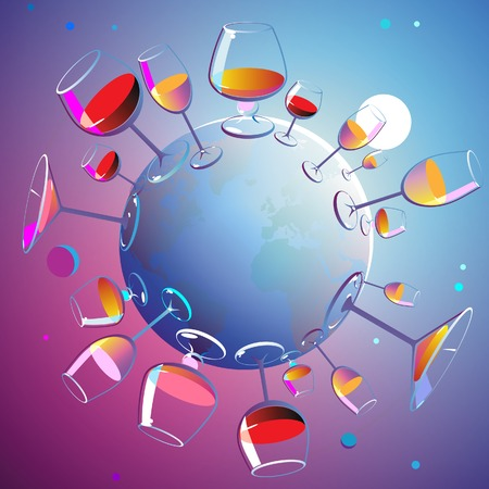 Planet of wines. Various wine glasses on the Earth. Vector illustration.