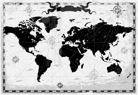 Retro-styled world map with compasses and windroses. Vector illustration. Vector