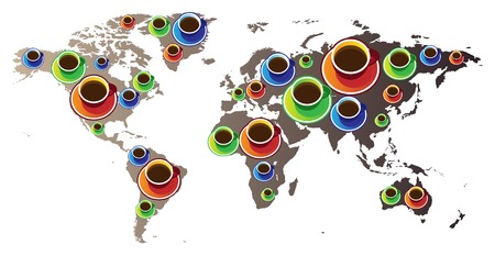 World map with coffee cups. Vector illustration concept. Vector