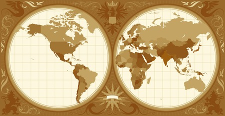 World map with retro-styled hemispheres, ornaments and insignia elements. Vector illustration. Vector