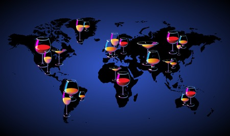 World map with wines. Vector illustration concept. Vector