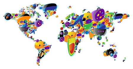 international food: World map made of colorful travel and leisure icons. Vector illustration concept.