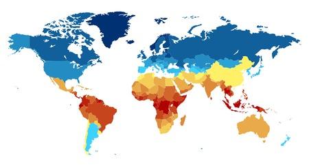 Mapa del mundo completo con los países. De color en varios colores: de rojo en el ecuador a los polos profundo azul cerca. Ilustración del vector.