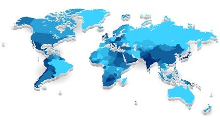 Carte du monde avec les pays de couleurs froides. Vector illustration.