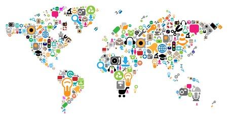 country music: Mappa del mondo fatto di Internet e le icone del computer. Concetto Vector illustration.